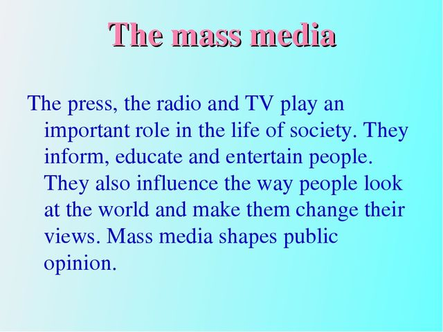 radio and television in mass media essay