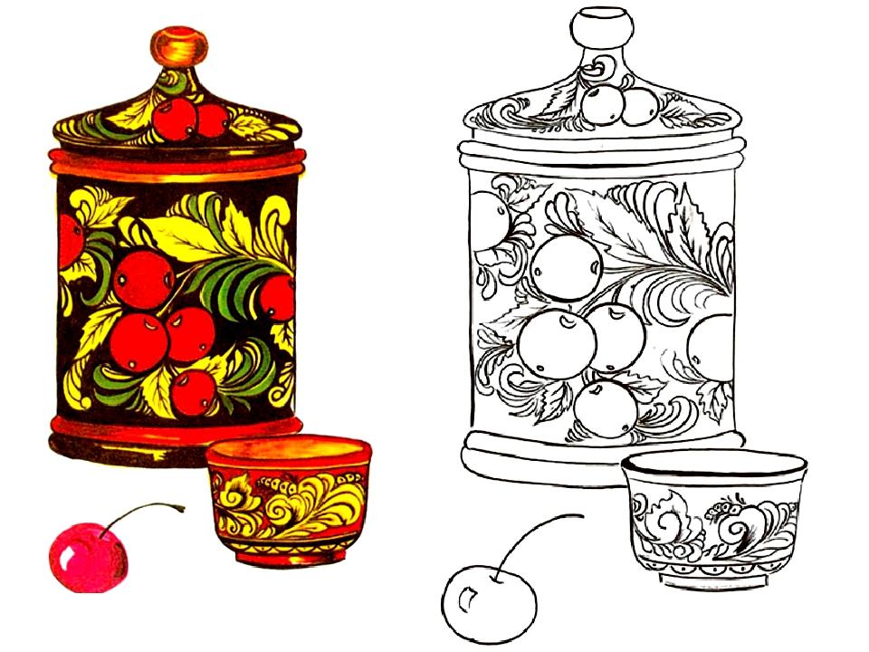 Картинки раскраски предметов народных ремесел
