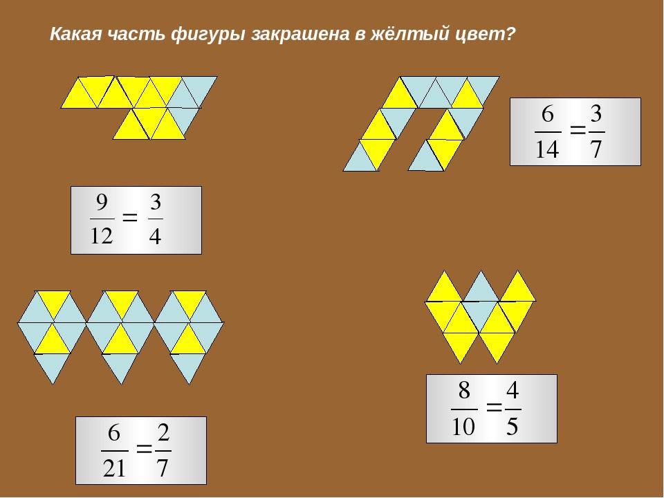 Какая часть фигуры закрашена в жёлтый цвет?