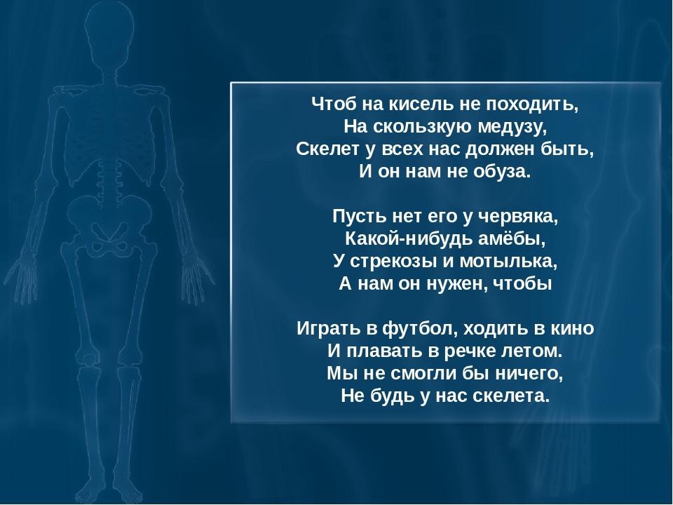 Чтоб на кисель не походить, На скользкую медузу, Скелет у всех нас должен быт...