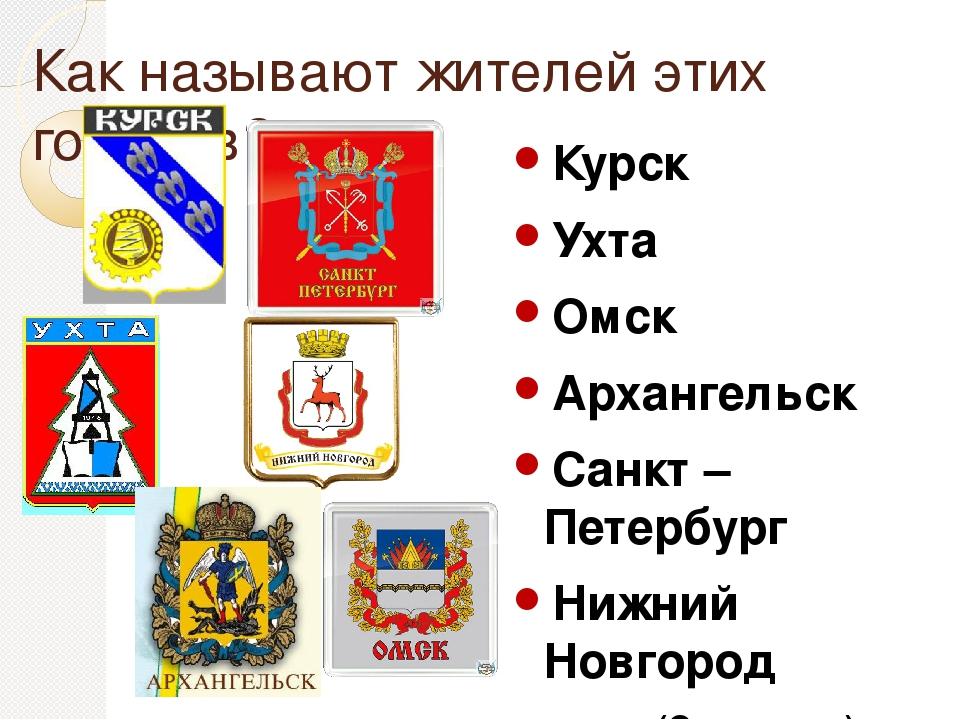 Как называют жителей этих городов? Курск Ухта Омск Архангельск Санкт – Петерб...