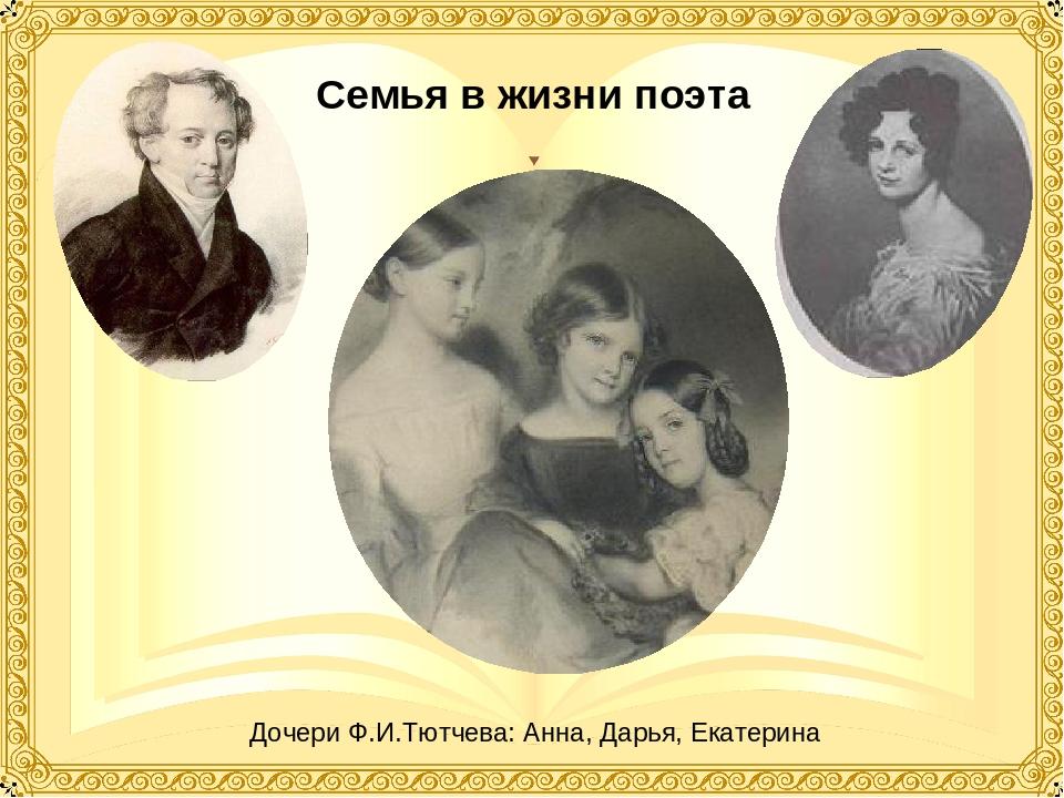 Семья в жизни поэта Дочери Ф.И.Тютчева: Анна, Дарья, Екатерина
