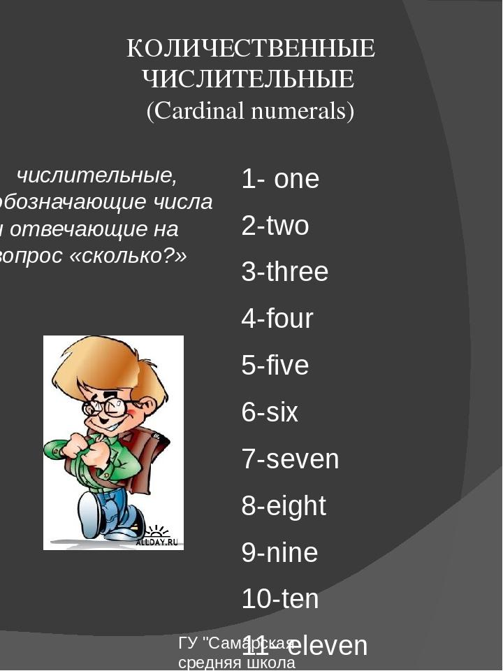 КОЛИЧЕСТВЕННЫЕ ЧИСЛИТЕЛЬНЫЕ (Cardinal numerals) числительные, обозначающие чи...