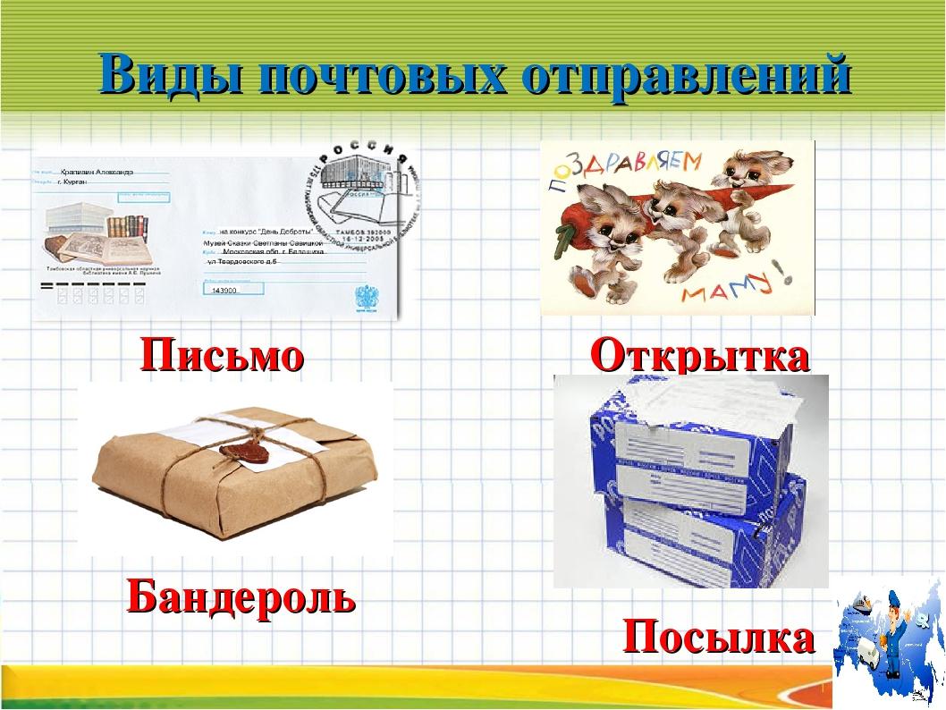 Виды почтовых отправлений Письмо Открытка Бандероль Посылка