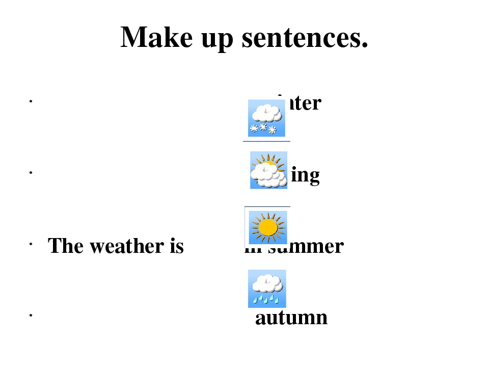 Make up sentences. winter spring The weather is in summer autumn