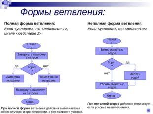 Формы ветвления: Полная форма ветвления: Если , то , иначе  Неполная форма ве