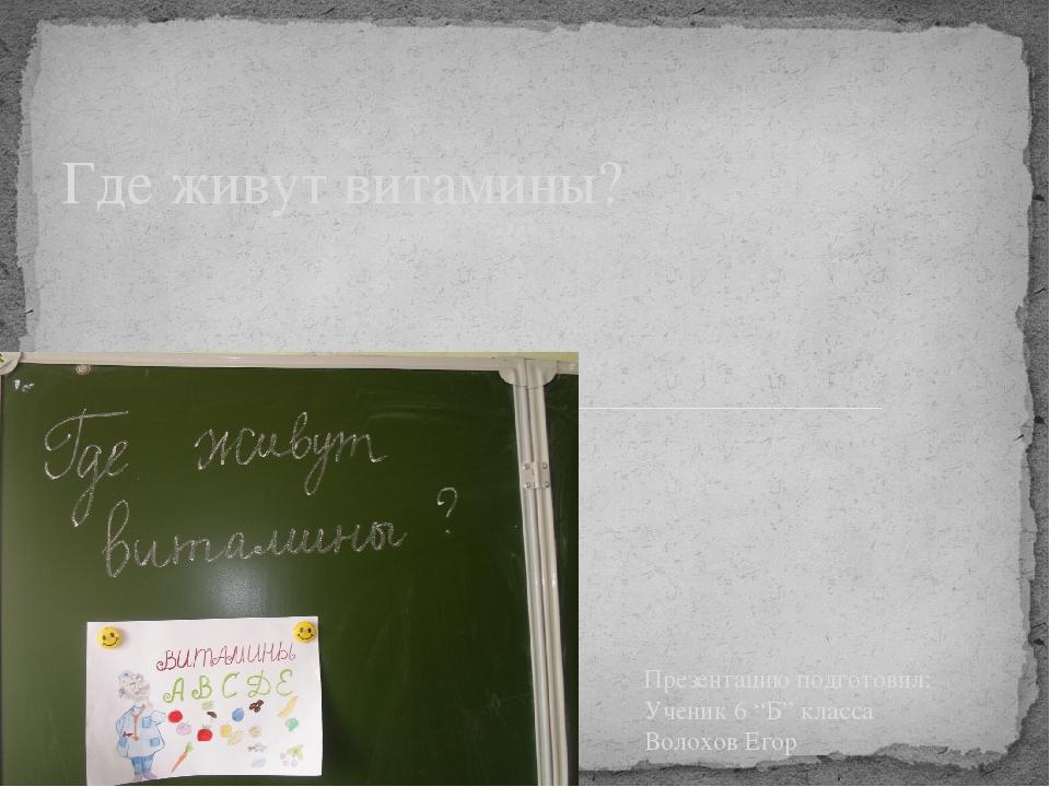 """Презентацию подготовил: Ученик 6 """"Б"""" класса Волохов Егор Где живут витамины?"""