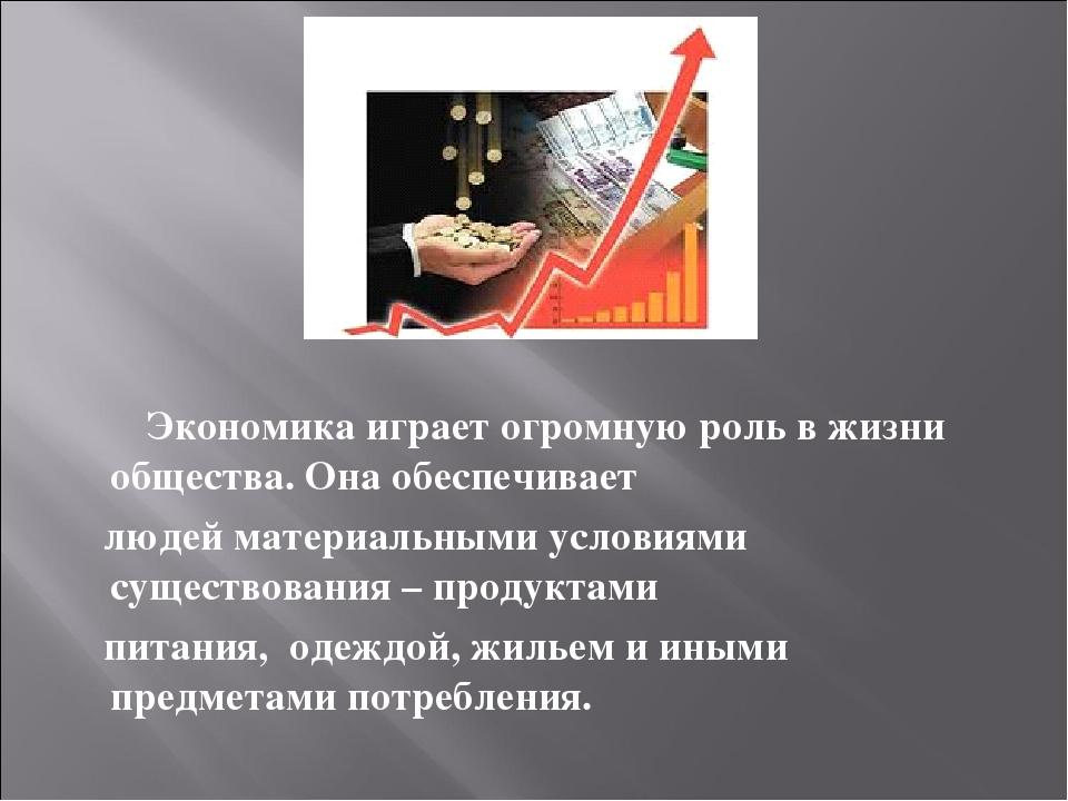 Экономика играет огромную роль в жизни общества. Она обеспечивает людей мате...