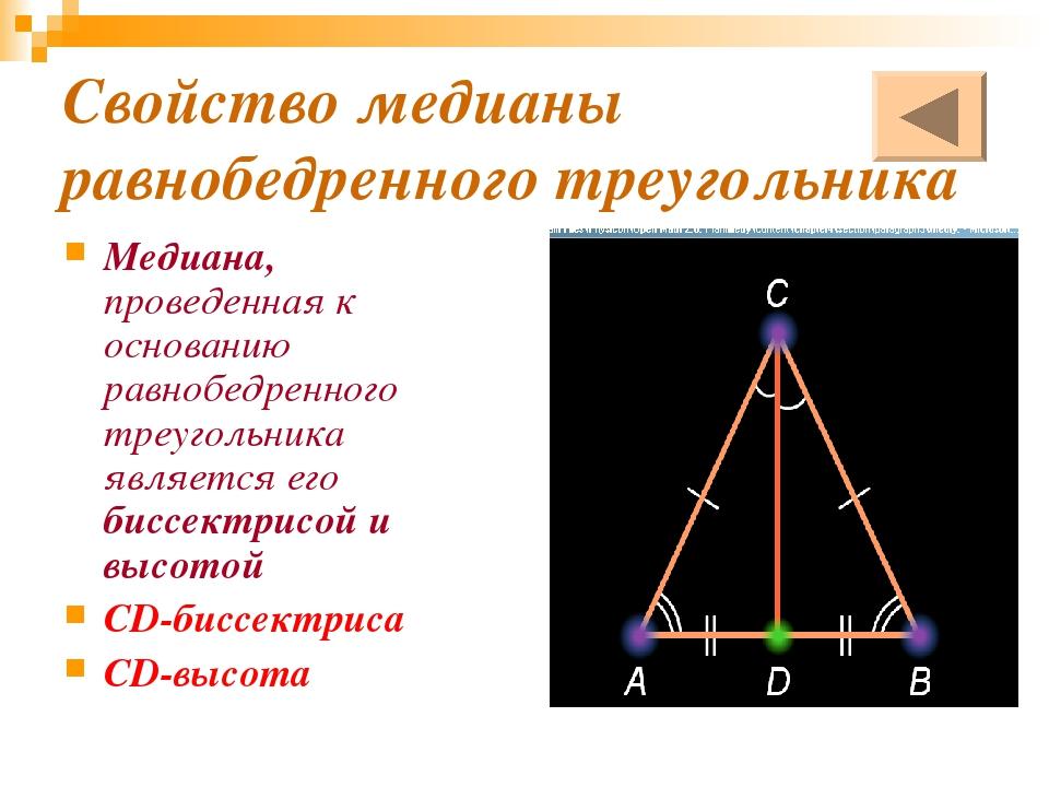 Свойство медианы равнобедренного треугольника Медиана, проведенная к основани...