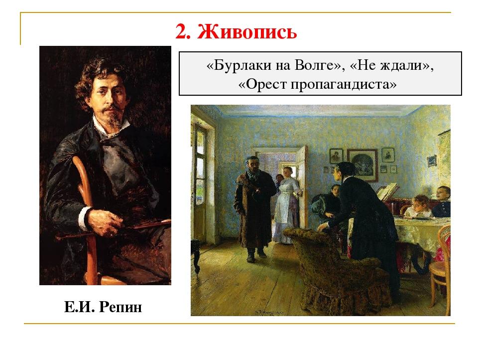 2. Живопись Е.И. Репин «Бурлаки на Волге», «Не ждали», «Орест пропагандиста»