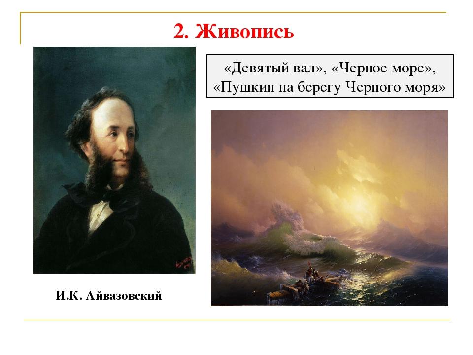 2. Живопись И.К. Айвазовский «Девятый вал», «Черное море», «Пушкин на берегу...