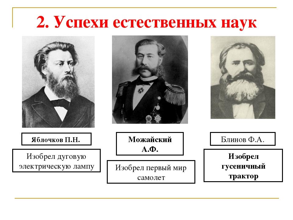 2. Успехи естественных наук Яблочков П.Н. Изобрел дуговую электрическую лампу...