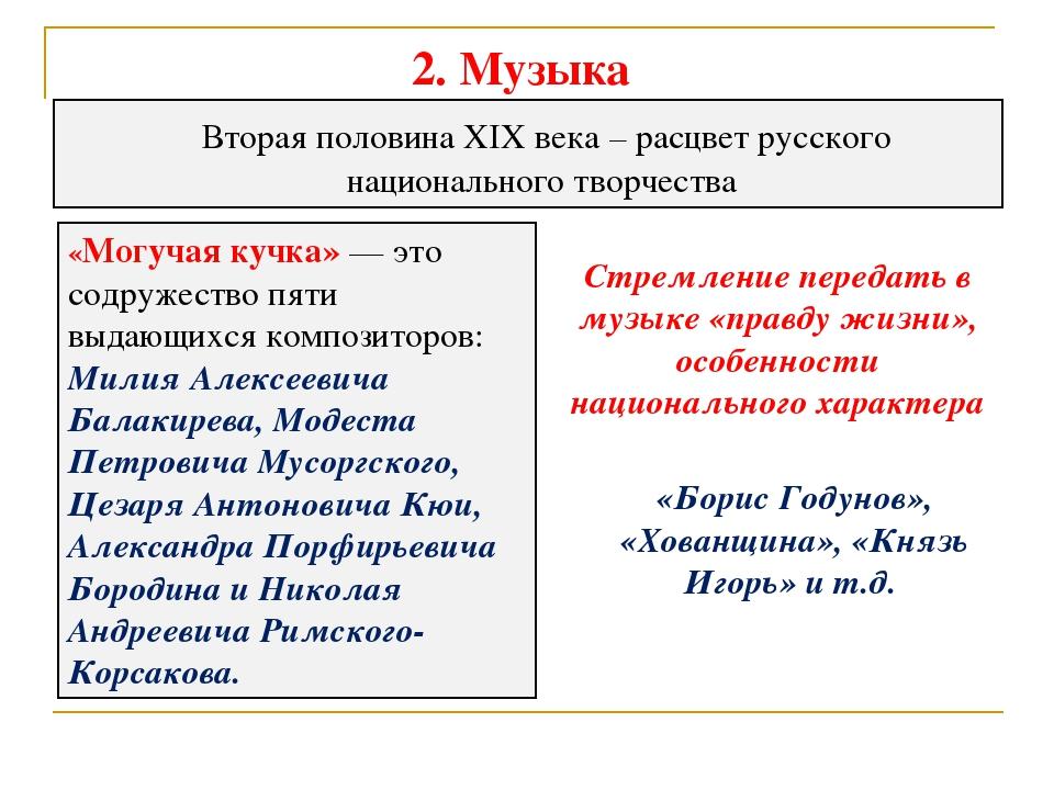 2. Музыка Вторая половина XIX века – расцвет русского национального творчест...