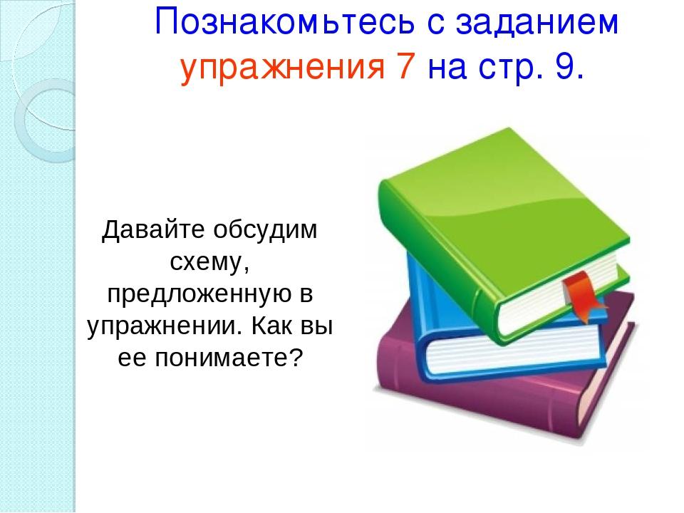 Познакомьтесь с заданием упражнения 7 на стр. 9. Давайте обсудим схему, предл...