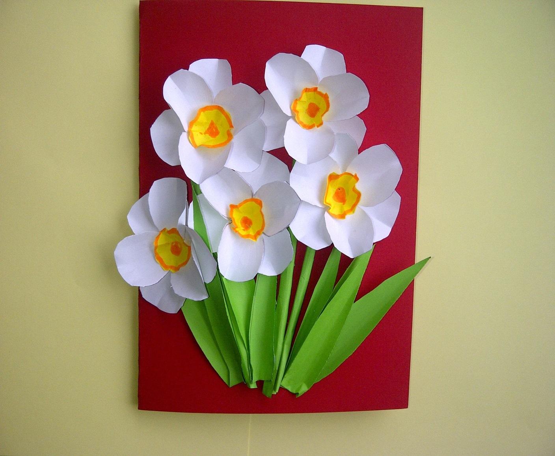 Цветы из цветной бумаги на открытку