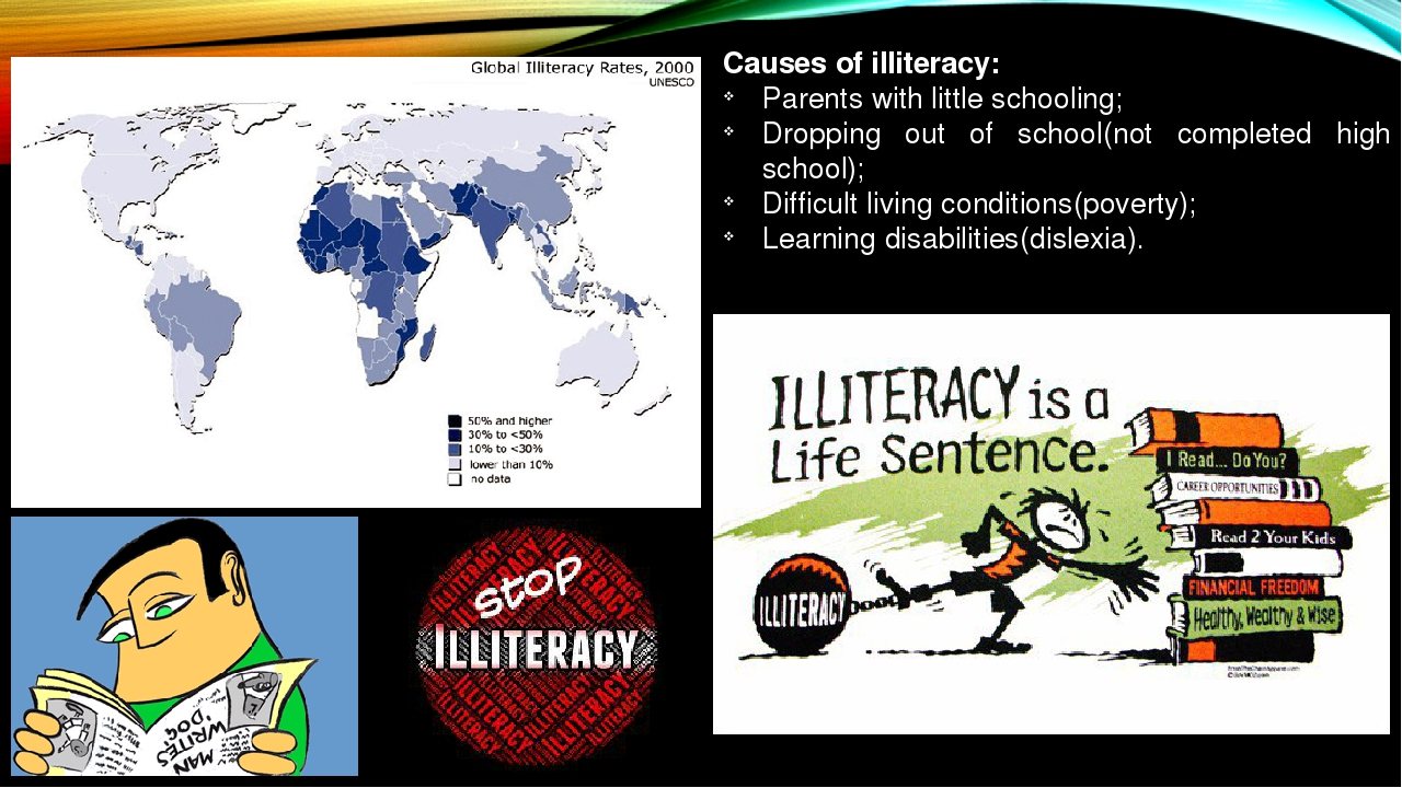 illiteracy causes poverty Illiteracy and ignorance are supportive of poverty by 2001, there were about 38 crore illiterates in the country further, our defective educational system is incapable of generating employment and there is no guarantee of job for the educated youths.