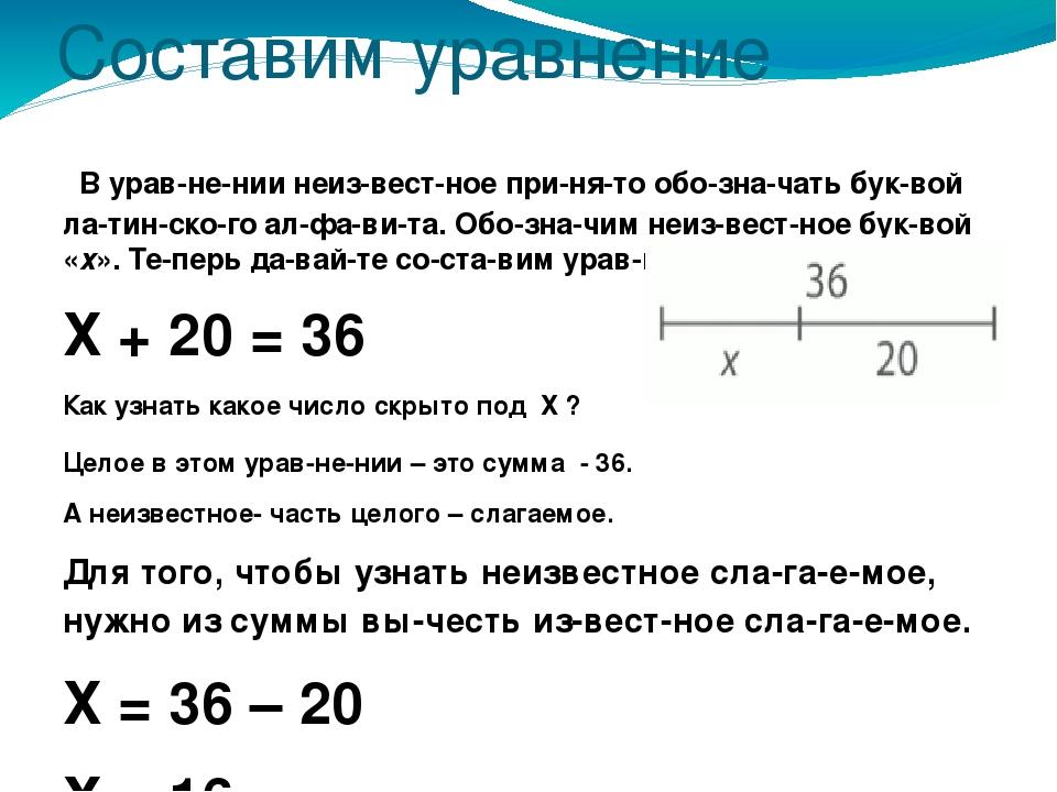 Составим уравнение В уравнении неизвестное принято обозначать буквой...