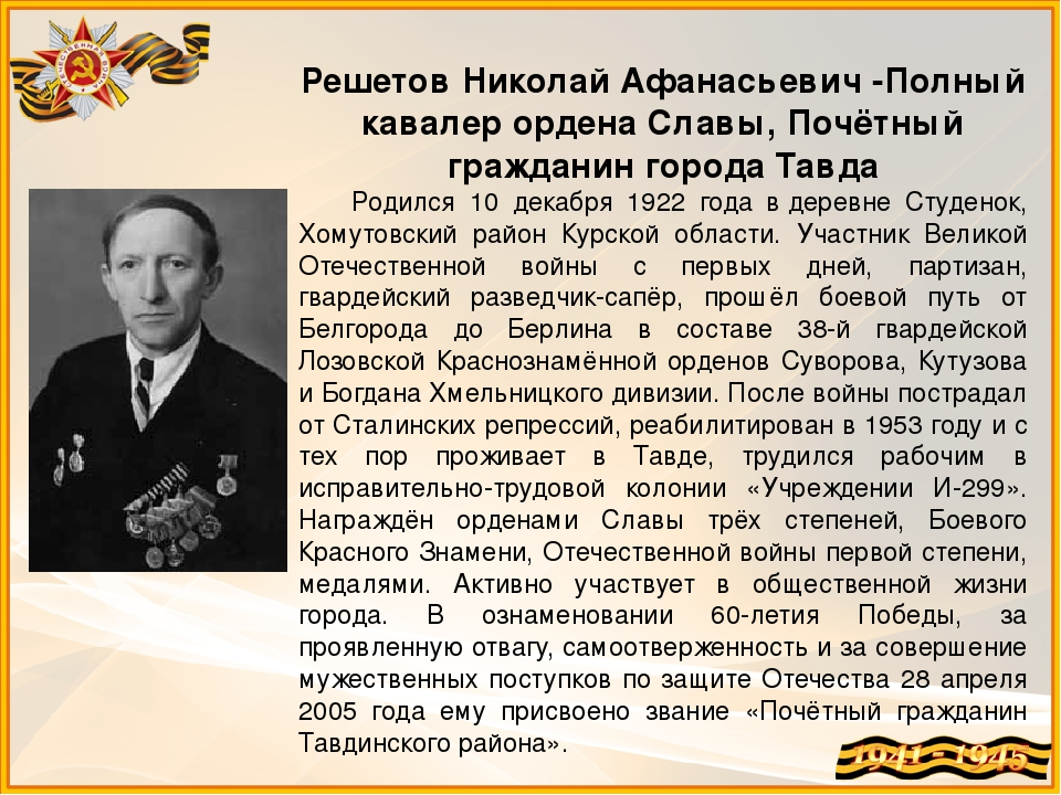 Решетов Николай Афанасьевич -Полный кавалер ордена Славы, Почётный гражданин...