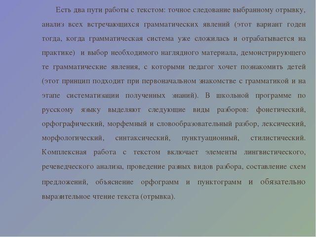 Курсовая работа по русскому языку Комплексный анализ текста  Есть два пути работы с текстом точное следование выбранному отрывку анализ