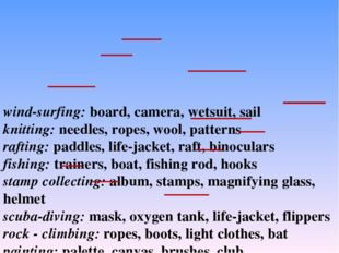wind-surfing: board, camera, wetsuit, sail knitting: needles, ropes, wool, pa