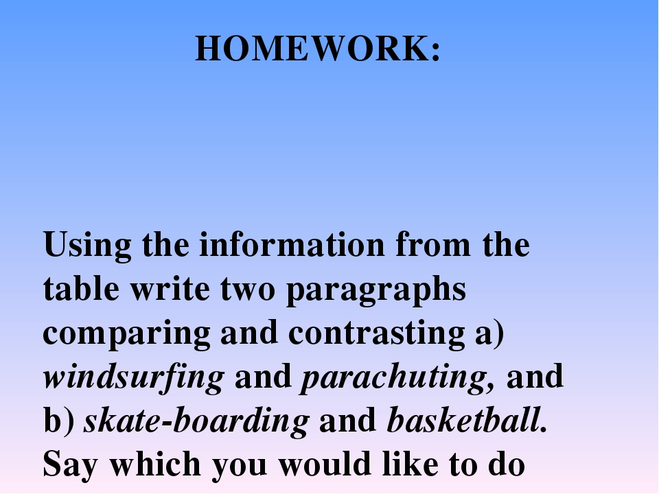 Using the information from the table write two paragraphs comparing and contr...