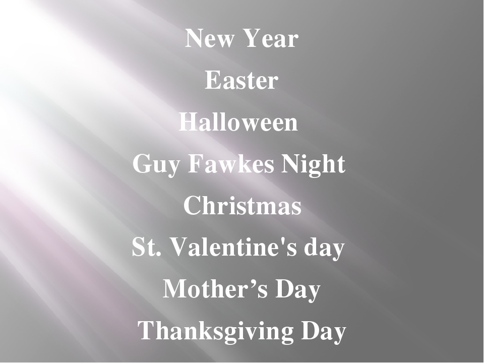 New Year Easter Halloween Guy Fawkes Night Christmas St. Valentine's day Moth...