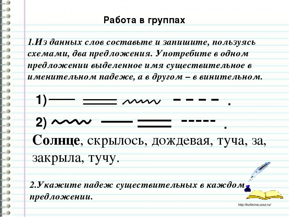Напиши опорные слова 1 го склонения