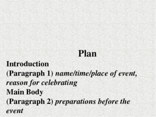 Plan Introduction (Paragraph 1) пате/time/place of event, reason for celebra