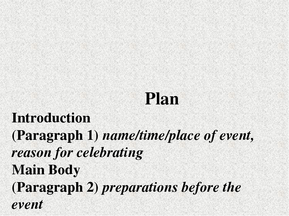 Plan Introduction (Paragraph 1) пате/time/place of event, reason for celebra...
