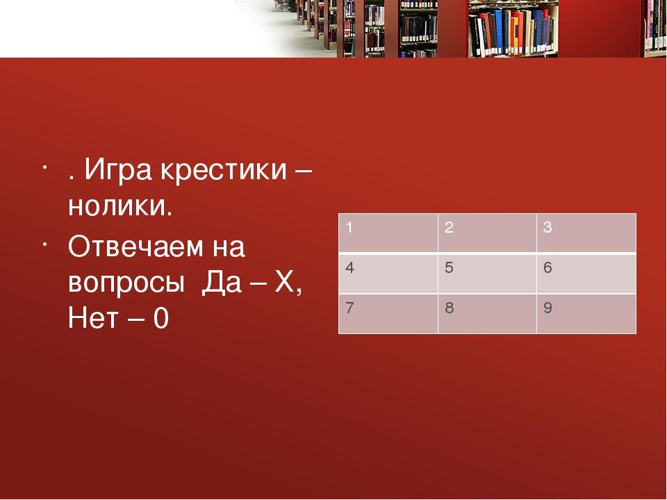 . Игра крестики – нолики. Отвечаем на вопросы Да – Х, Нет – 0 1 2 3 4 5 6 7...