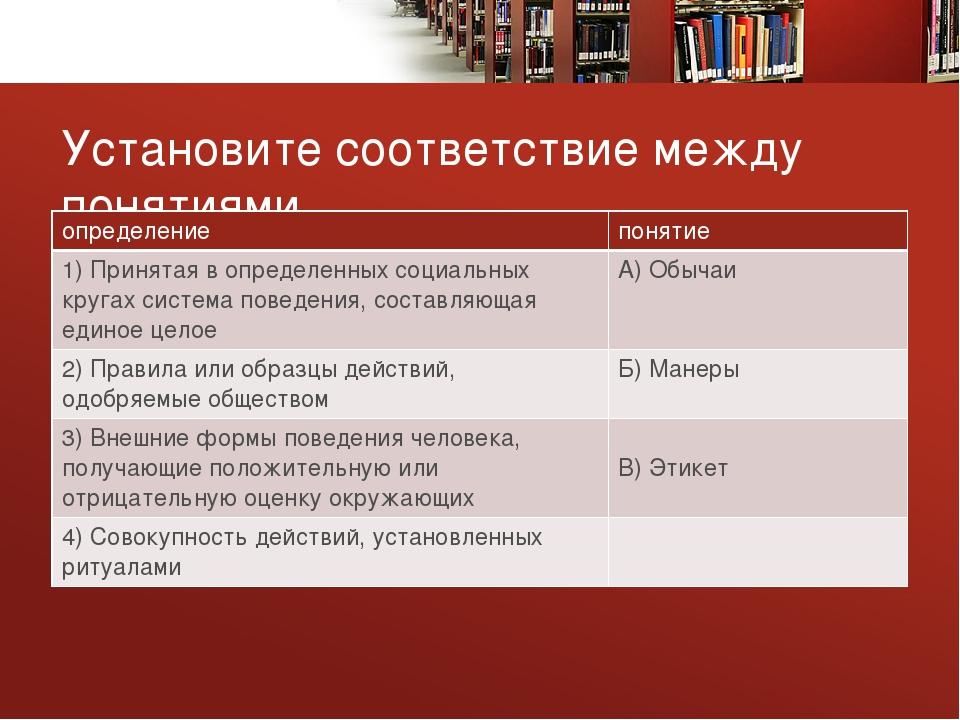 Установите соответствие между понятиями определение понятие 1) Принятая в опр...
