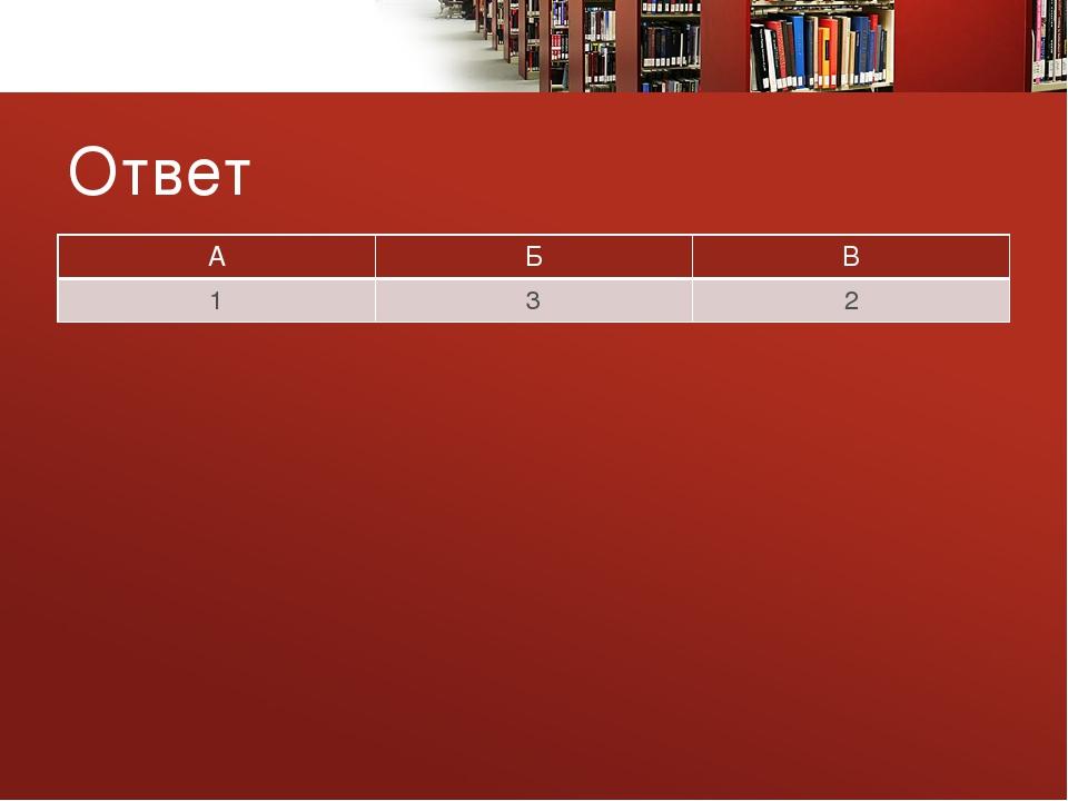 Ответ А Б В 1 3 2