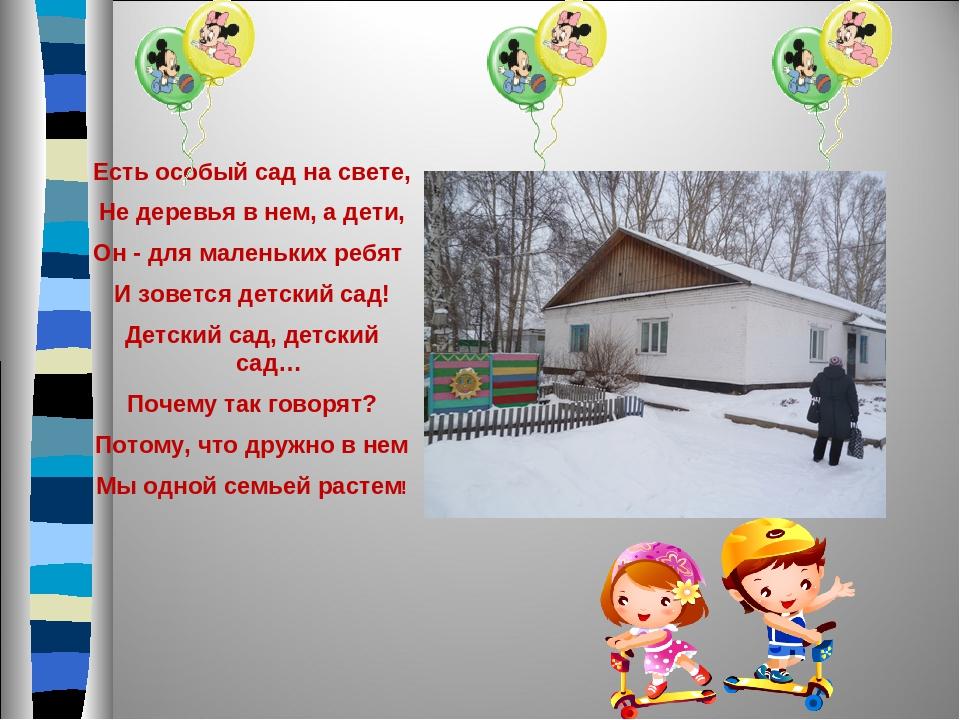 Есть особый сад на свете, Не деревья в нем, а дети, Он - для маленьких ребят...