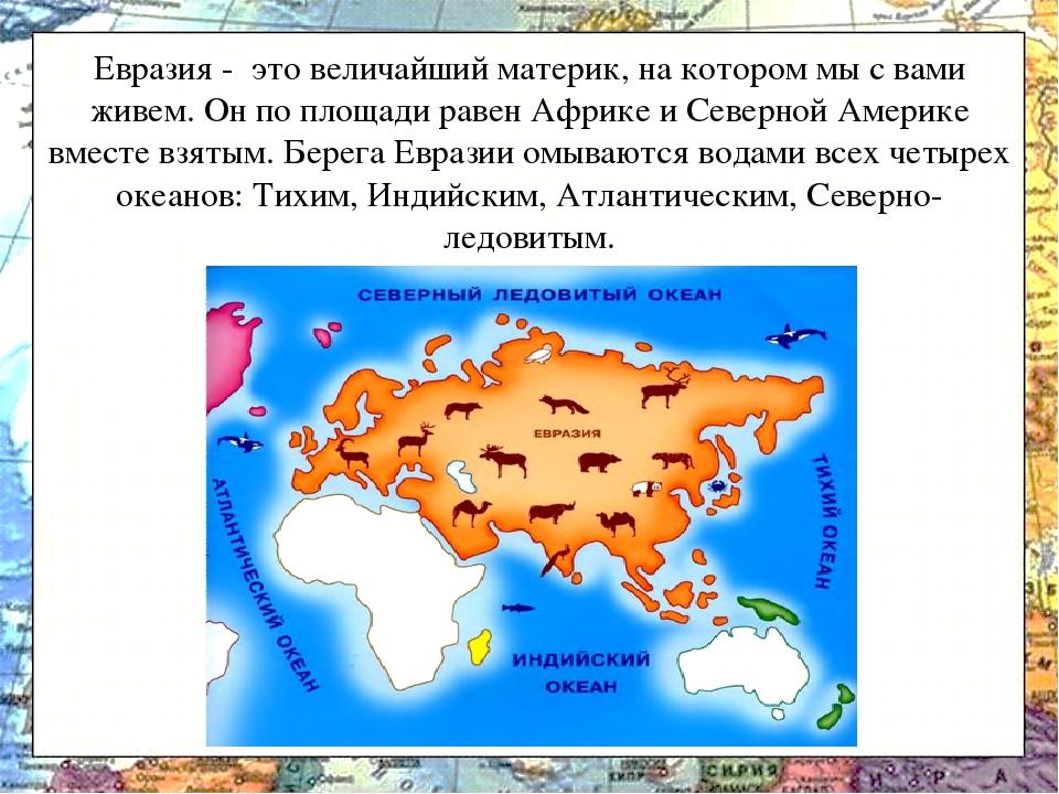 воспринимают материк евразия с картинками некоторых особей есть