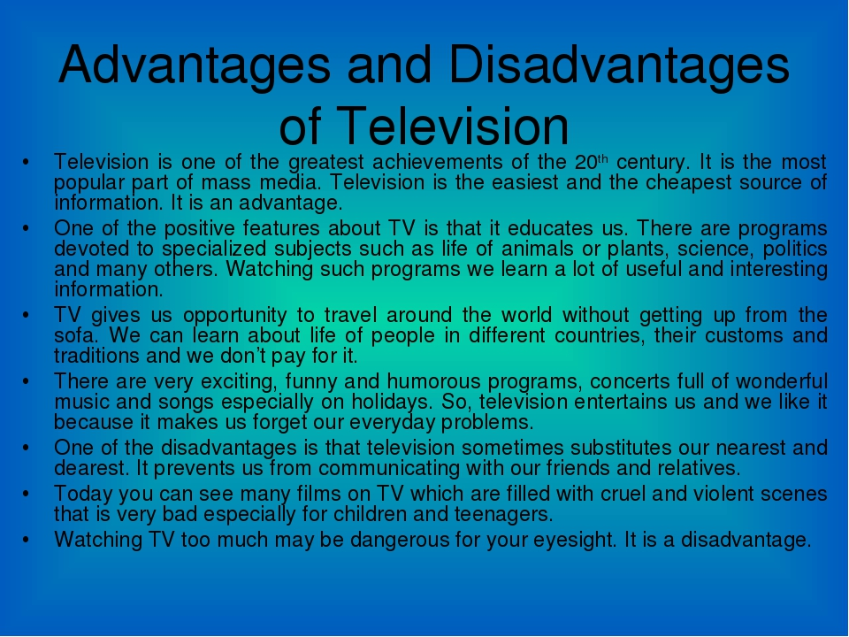 essay about the disadvantages of television