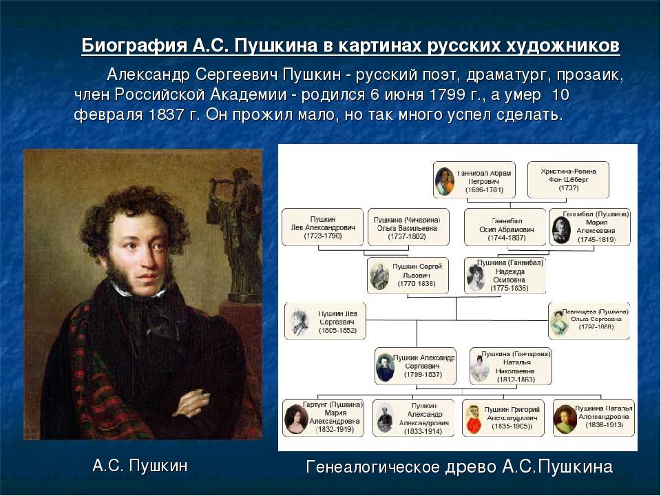 Пушкин фото и биография