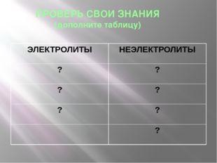 ПРОВЕРЬ СВОИ ЗНАНИЯ (дополните таблицу) ЭЛЕКТРОЛИТЫ НЕЭЛЕКТРОЛИТЫ ? ? ? ? ? ? ?