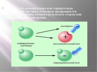 ИОНЫ – это положительно или отрицательно заряженные частицы, в которые превра