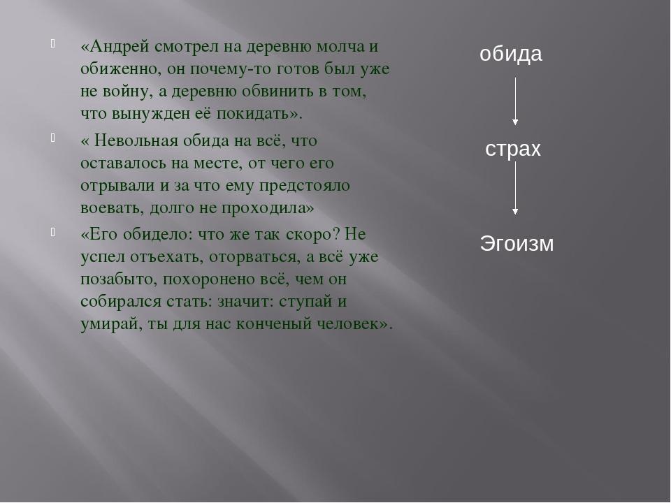 «Андрей смотрел на деревню молча и обиженно, он почему-то готов был уже не во...