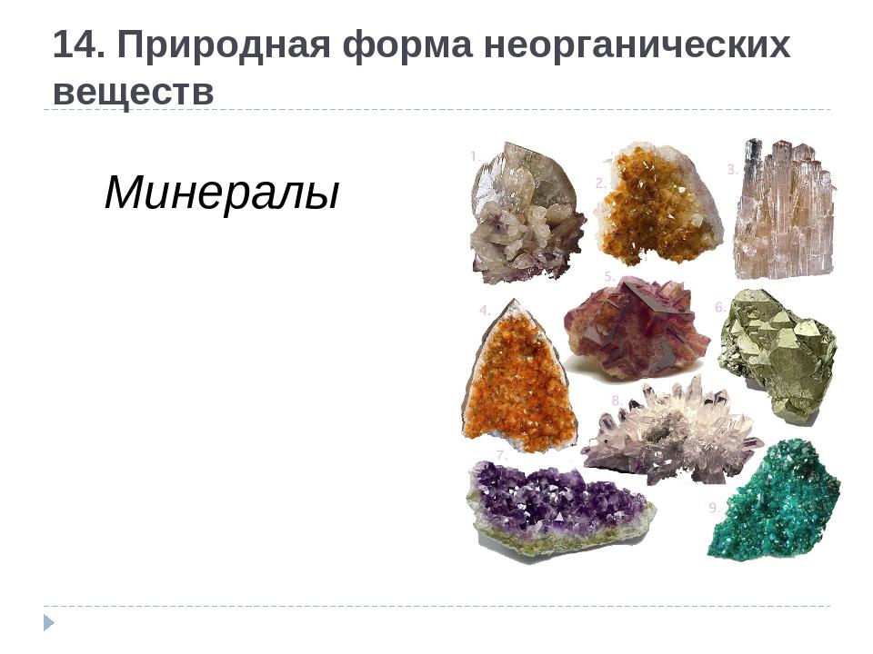 14. Природная форма неорганических веществ Минералы