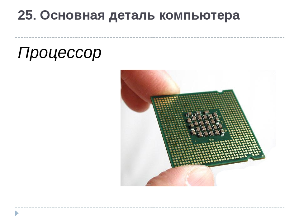 25. Основная деталь компьютера Процессор