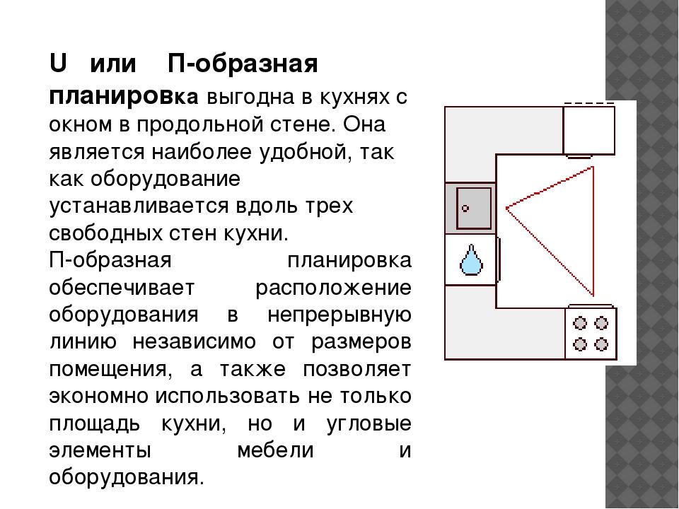 U или П-образная планировка выгодна в кухнях с окном в продольной стене. Она...