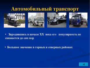 Автомобильный транспорт Большое значение в горных и северных районах Зародивш