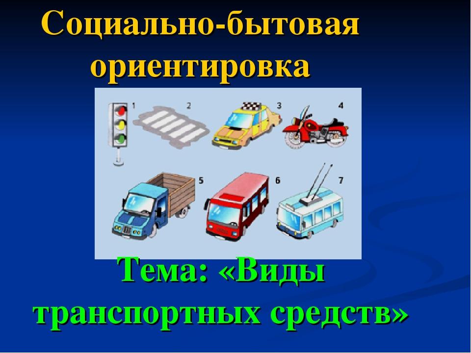 Социально-бытовая ориентировка Тема: «Виды транспортных средств»