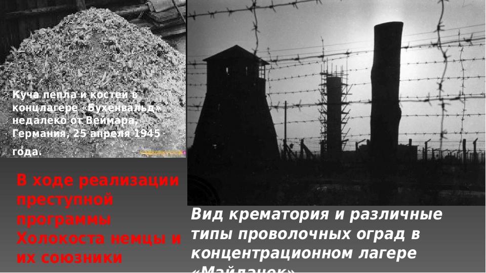 Вид крематория и различные типы проволочных оград в концентрационном лагере «...