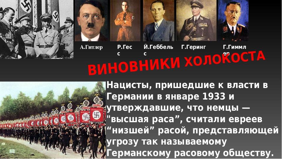Нацисты, пришедшие к власти в Германии в январе 1933 и утверждавшие, что немц...