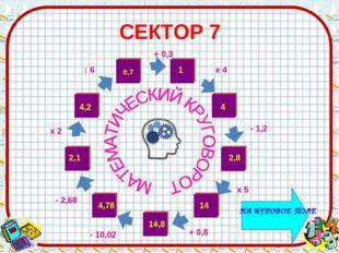 СЕКТОР 7 1 4 14 14,8 - 10,02 4,78 4,2 х 4 - 1,2 х 5 + 0,8 : 6 х 2 - 2,68 + 0,3