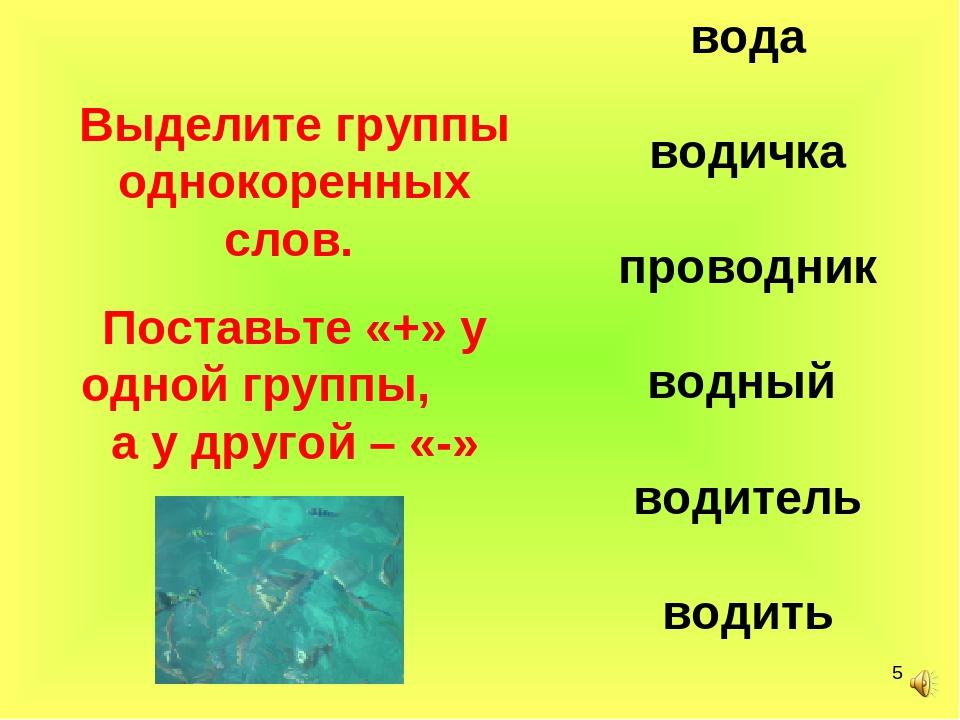 * вода водичка проводник водный водитель водить Выделите группы однокоренных...