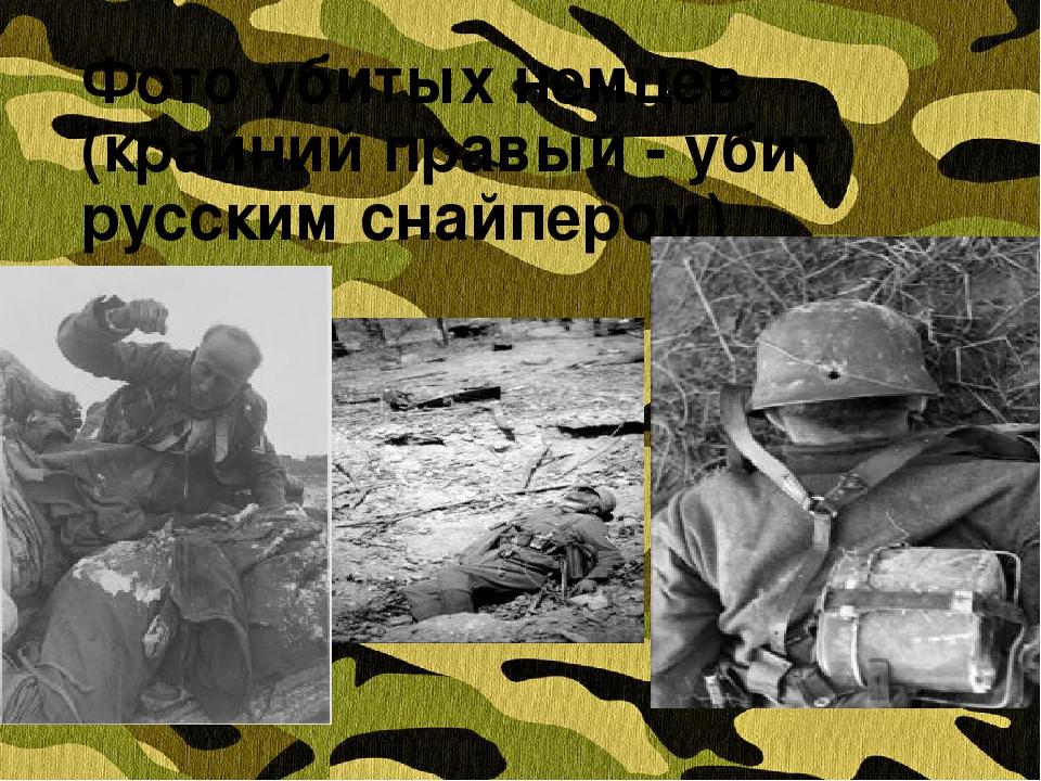Фото убитых немцев (крайний правый - убит русским снайпером)