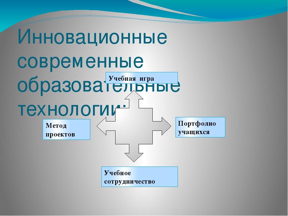 Инновационные современные образовательные технологии: Учебная игра Учебное со...